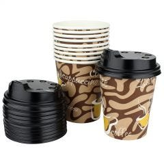 Paper Coffee Cups with Lids (Pack of 12)