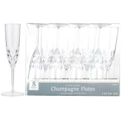 Clear Plastic Champagne Glasses (Pack of 4)