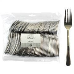 Stainless Steel Look Flair Plastic Forks (Pack of 50)