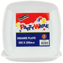 Square Plastic Serving Platters (Pack of 2)