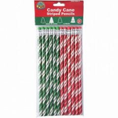 Candy Cane Striped Pencils (Pack of 12)