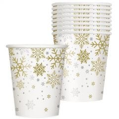 Silver & Gold Snowflakes Paper Cups (Pack of 8)
