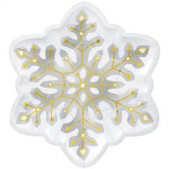 Snowflake Shimmer Large Paper Plates (Pack of 8)