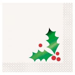 Christmas Green Foil Holly Small Napkins / Serviettes (Pack of 16)
