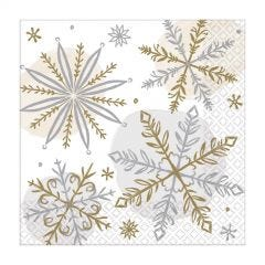 Pack of 16 Shining Snow Small Napkins / Serviettes