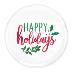 Happy Holidays Small Plastic Plates (Pack of 20)