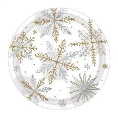 Pack of 8 Shining Snow Small Paper Plates