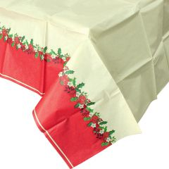 Holly & Poinsettia Paper Tablecloth