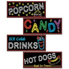Carnival Food Sign Decorations (Pack of 4)