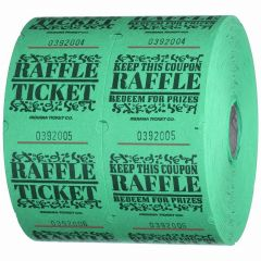 Circus Coupon Ticket Roll Green (1000 Double Tickets)