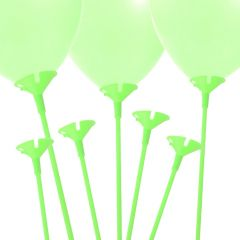 Lime Green Balloon Sticks and Cups (Pack of 12)
