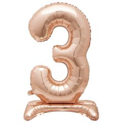 Rose Gold Foil Stand Up Air Fill 3 Balloon 76cm