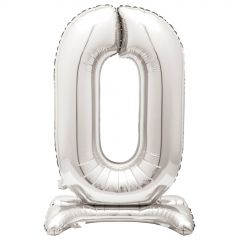 Silver Foil Stand Up Air Fill 0 Balloon 76cm