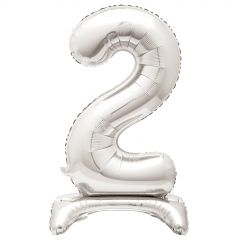 Silver Foil Stand Up Air Fill 2 Balloon 76cm