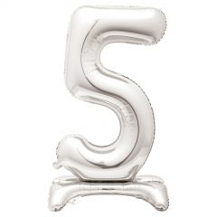 Silver Foil Stand Up Air Fill 5 Balloon 76cm