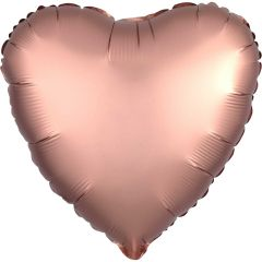 Heart Shaped Rose Copper Gold Satin Luxe Foil Balloon 43cm