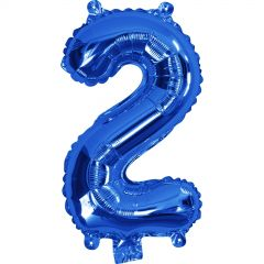 Blue Number 2 Balloon 35cm
