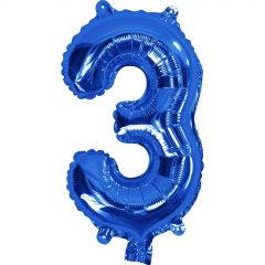 Blue Number 3 Balloon 35cm