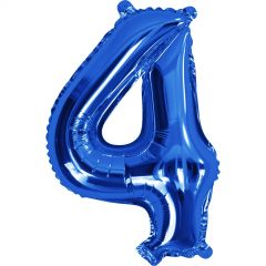 Blue Number 4 Balloon 35cm