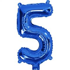 Blue Number 5 Balloon 35cm