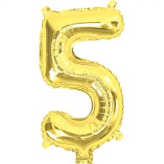 Gold Number 5 Balloon 35cm