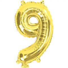 Gold Number 9 Balloon 35cm