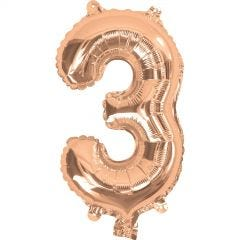 Rose Gold Number 3 Balloon 35cm