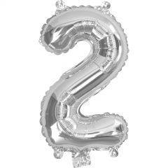 Silver Number 2 Balloon 35cm