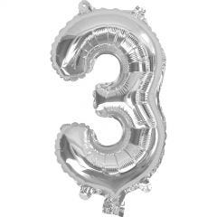 Silver Number 3 Balloon 35cm