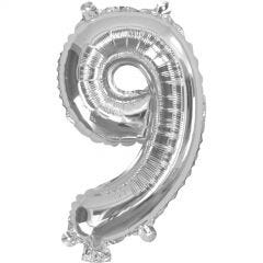 Silver Number 9 Balloon 35cm