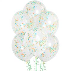 Pack of 6 clear 30cm natural rubber latex balloons which come pre-filled with multi-colour confetti