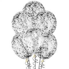 Bunch of clear 30cm natural rubber latex balloons which come already pre-filled with black confetti.