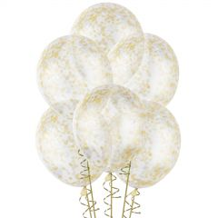 Bunch of 6 clear 30cm natural rubber latex balloons already pre-filled with gold confetti