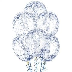 Royal Blue Pre-filled Confetti Balloons (Pack of 6)