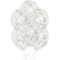 Silver Pre-filled Confetti Balloons (Pack of 6)
