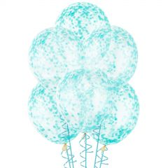 Teal Pre-filled Confetti Balloons (Pack of 6)