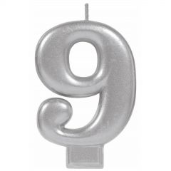 Metallic Silver Number 9 Candle