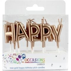 Rose Gold Happy Birthday Pick Candles