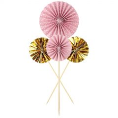 Pastel Pink Dots Stripes and Gold Foil Fan Cake Picks (Pack of 4)