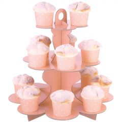 Pastel Coral and White Dot Cupcake Stand