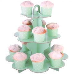 Pastel Mint and White Dot Cupcake Stand