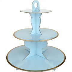 Blue Cupcake Stand With Gold Trim