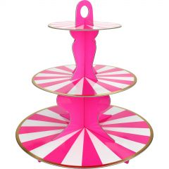Hot Pink & White Candy Stripe Cupcake Stand