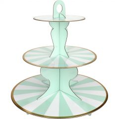 Pastel Mint Green & White Candy Stripe Cupcake Stand