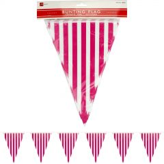 Hot Pink and White Striped Pennant Flag Banner - 10m