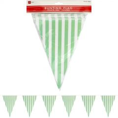 Light Green and White Striped Paper Pennant Flag Banner 10m