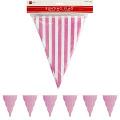 Pink and White Striped Paper Flag Banner (10m)