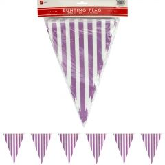 Purple and White Striped Pennant Flag Banner