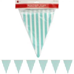 Teal and White Striped Paper Flag Banner (10m)