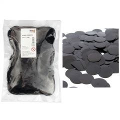 Bulk Metallic Black Confetti 4cm (250g) - in pack and scattered on table